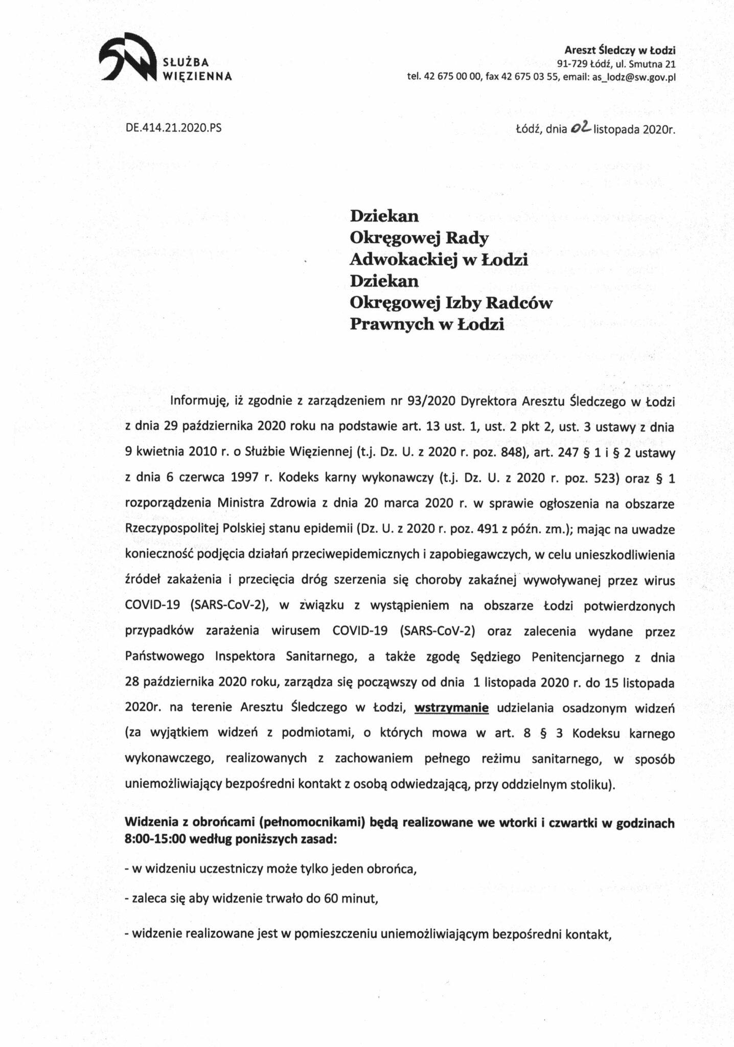 Informacja Dyrektora Aresztu Śledczego wŁodzi-1
