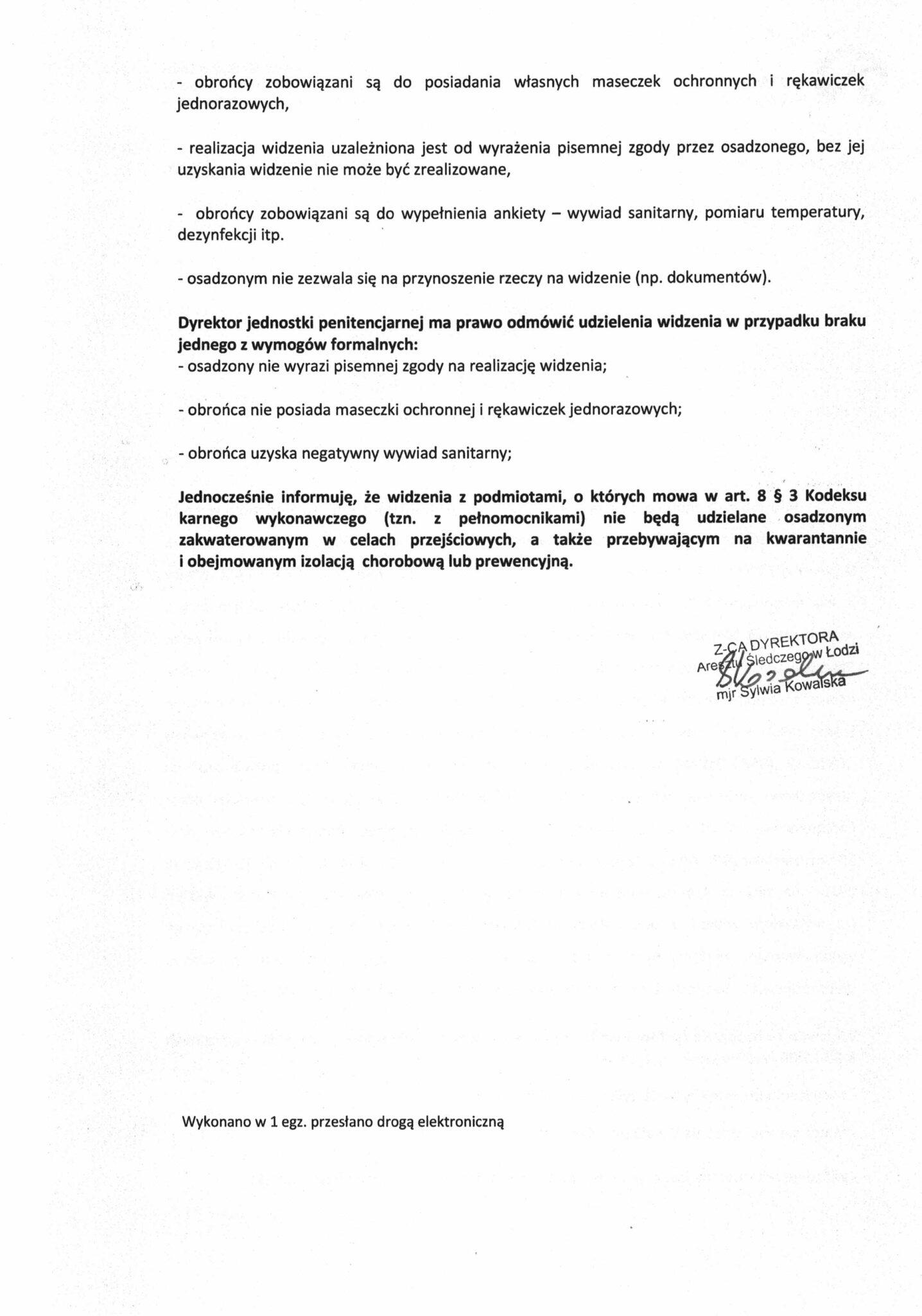 Informacja Dyrektora Aresztu Śledczego wŁodzi-2