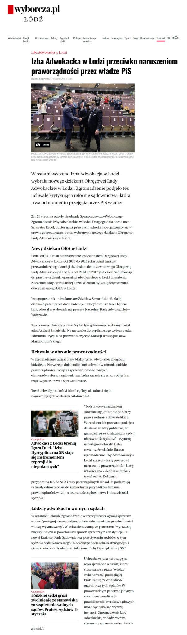 gazeta wyborcza 2021-01-27